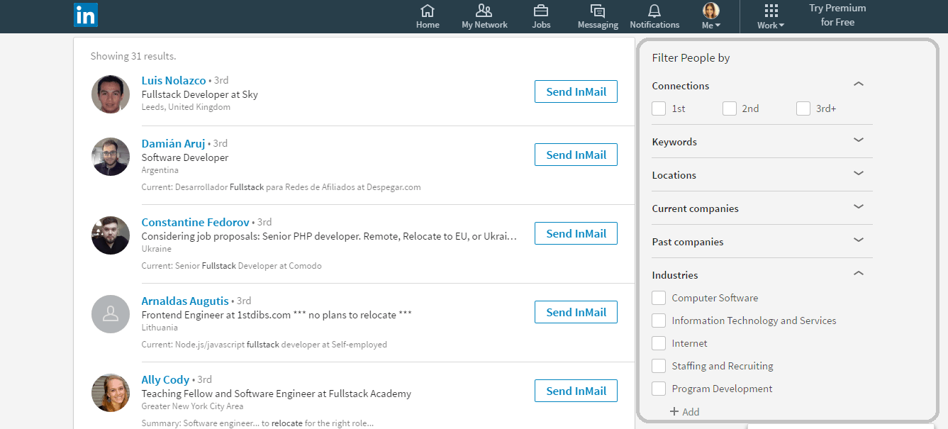 screenshot of a linkedin search for recruiters