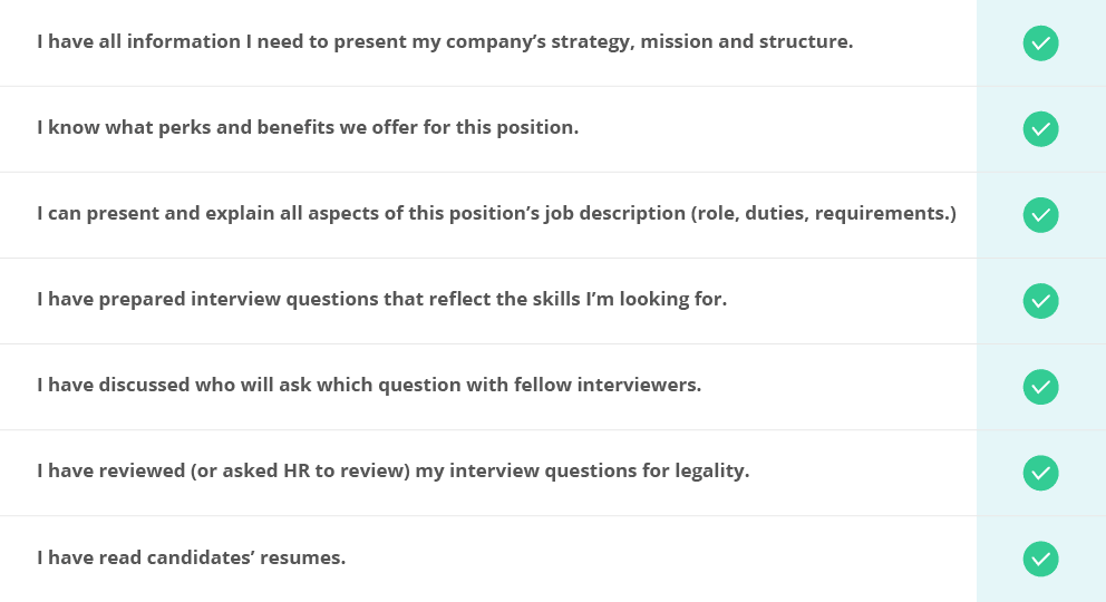 chart presenting ways to get better at conducting an interview