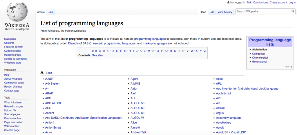 Wikipedia Programming Languages List