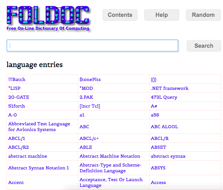 FOLDOC Coding Languages List